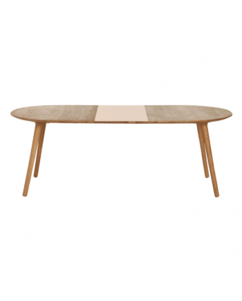 Eat Oval extendable dining table in solid oak with one extension leaf