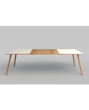 Eat Rectangular extension dining table with white laminate top and two extension leaves in solid oak oiled. Table feature splayed legs. Made by Via CPH