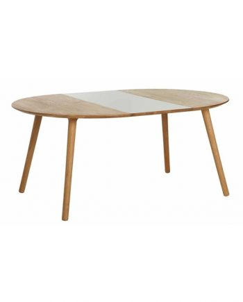 Eat Round extendable dining table in solid oak with one contrasting extension leaf