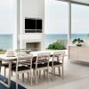 Skovby #38 extension dining table white laminate top oak white oil base