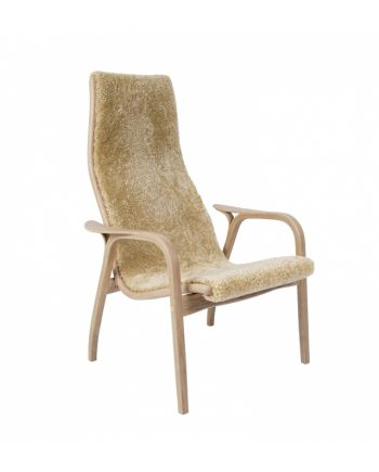 Swedese Anniversary Edition Lamino Chair in White Pigmented Oak with Honey sheepskin