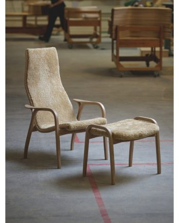 Swedese Anniversary Edition Lamino Chair and Footstool in White Pigmented Oak with Honey sheepskin