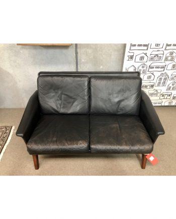Midcentury Vintage Danish 2-Seat Sofa   Leather and Rosewood