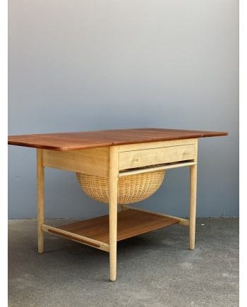Vintage Sewing Table | Teak and Oak | Hans Wegner | Leaves Extended