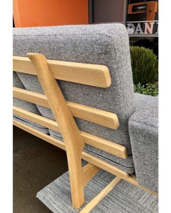 Vintage Hans Wegner GE 235/4 Sofa   Soaped Oak with Fabric   Back Detail