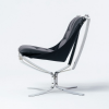 Falcon Phoenix Low Back | Black leather with Chrome frame | Hjelle